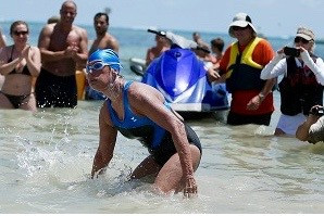 Nyad coming out of the water at Key West.