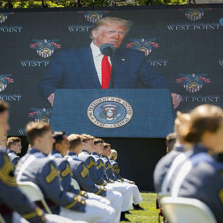 Trump hails military, sidesteps flashpoints in address to West Point grads