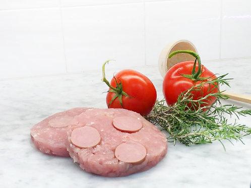 2 Hamburger di nostra produzione wurstel e formaggio