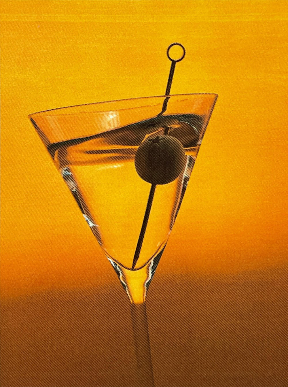 Reverse martini with olive