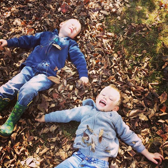 Boys in leaves