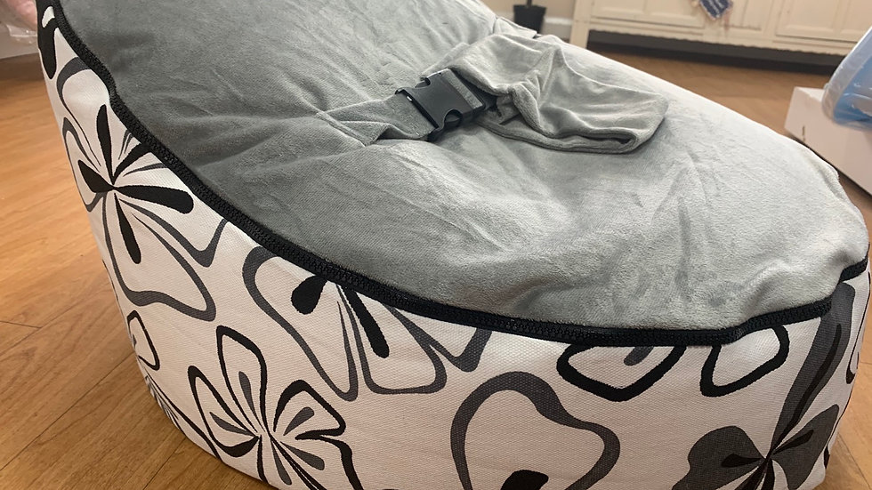 Grey/ black flowers Baby Bean Bag