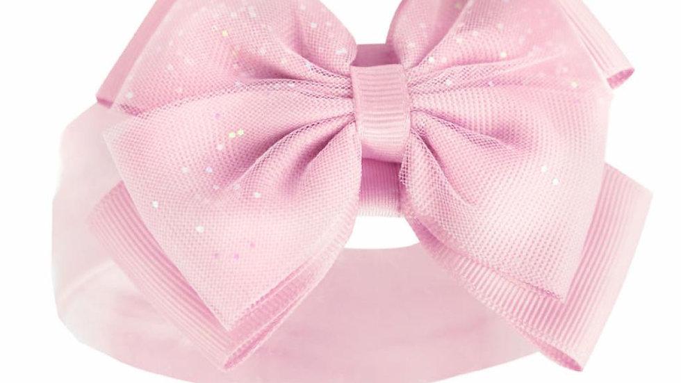 Pink Glitter Bow Headband