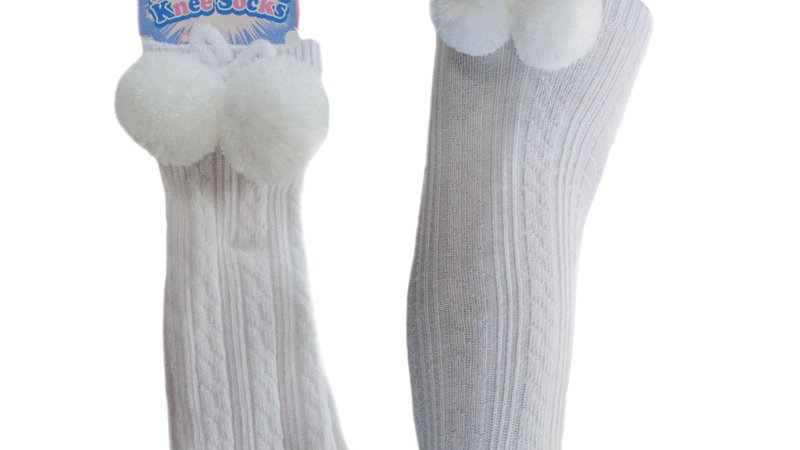 Knee High Pom socks in white