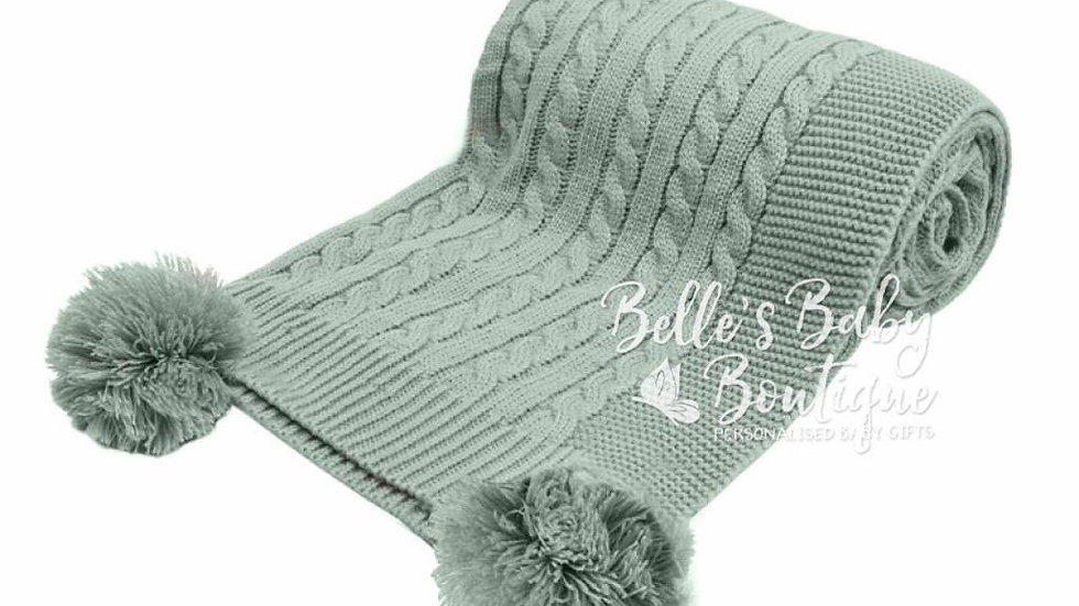 Sage Green Elegance Cable knit blanket with large poms