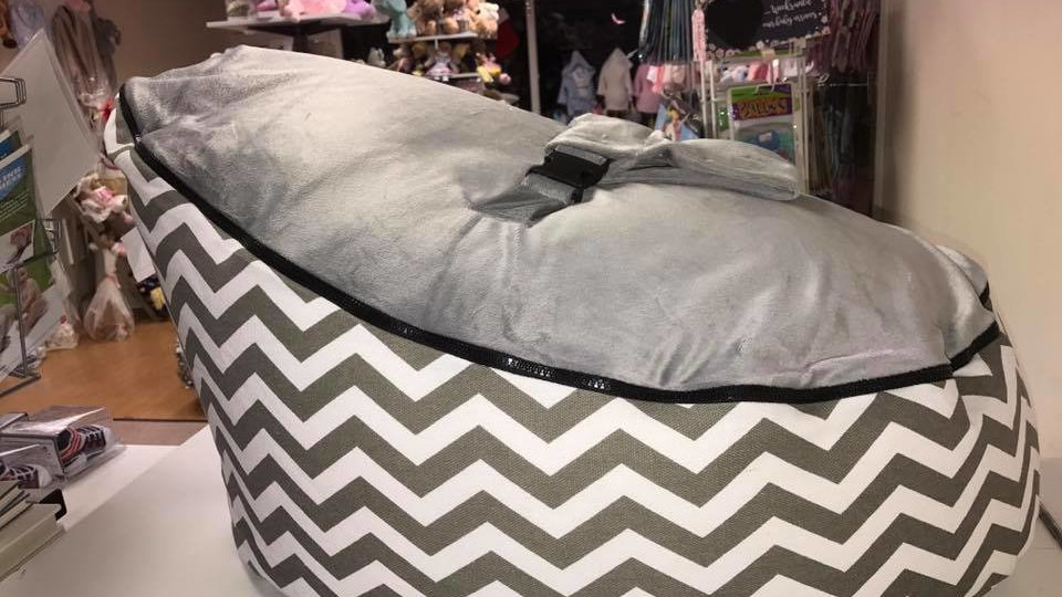 Grey Chevron Baby Bean Bag
