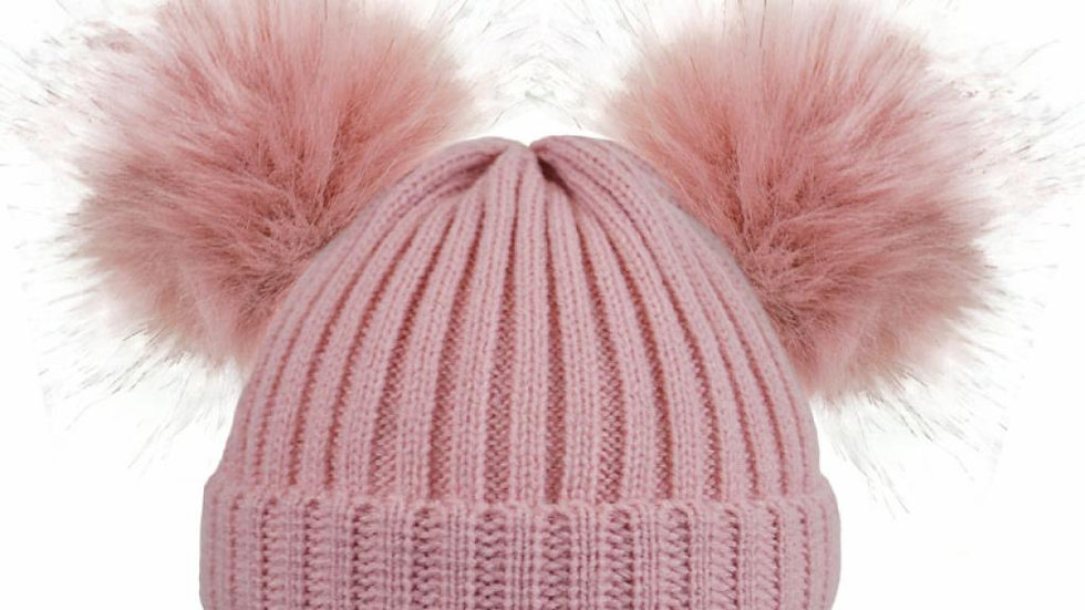 Fluffy double pom hat in dusky pink
