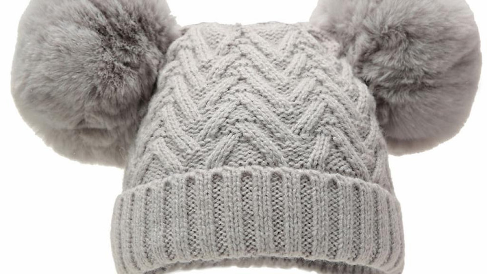 Double Pom Cable Knit hat 6-18 months