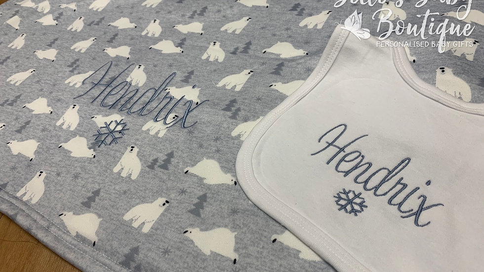 Personalised Polar Bear Blanket and bib set