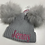 Thumbnail: Fluffy double pom hat grey