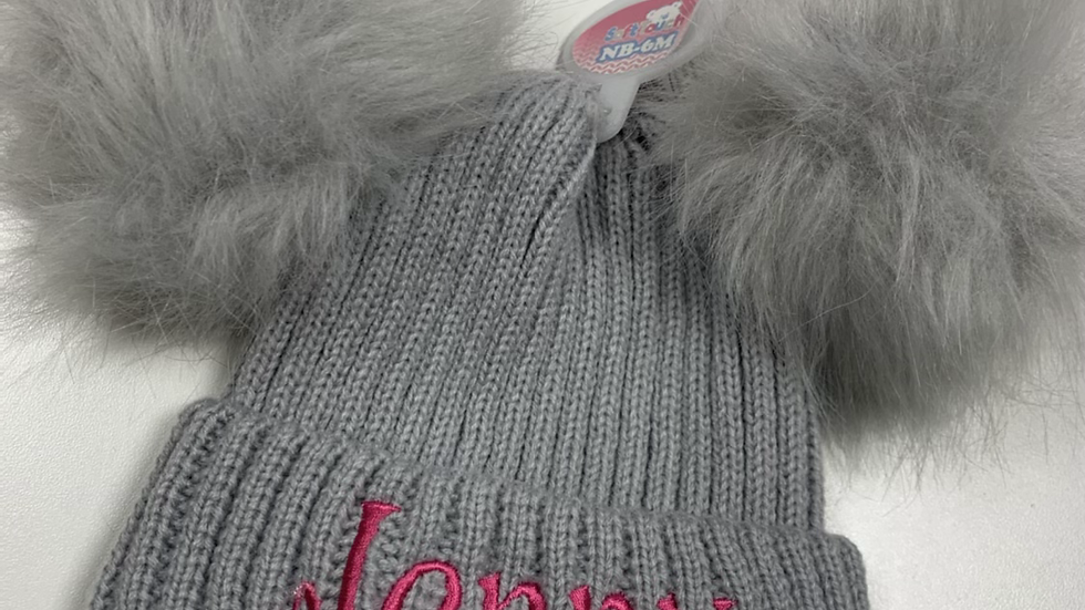 Fluffy double pom hat grey