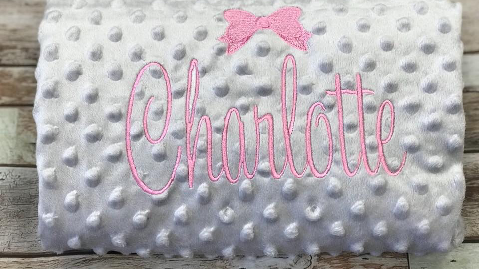 Personalised Bobble Blanket with Bow design to the centre