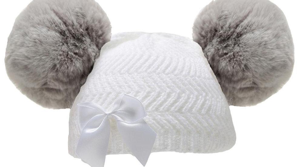 White/ grey Pom hat with bow
