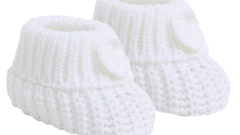 Pair of Knitted booties with Flower in White