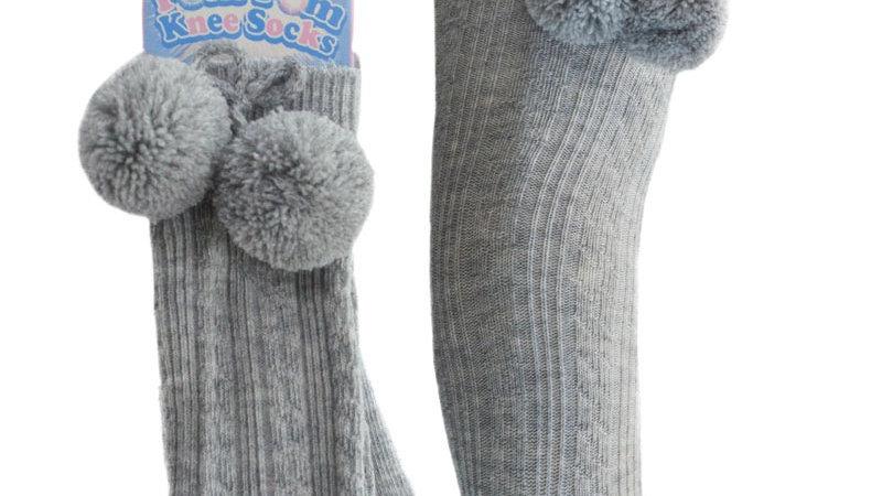 Knee High Pom socks in grey