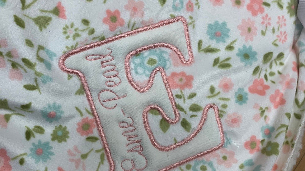 Floral Blanket with initial