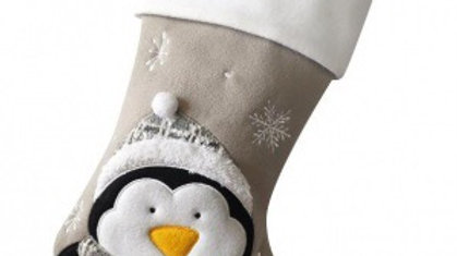 Personalised Penguin Stocking grey with white cuff