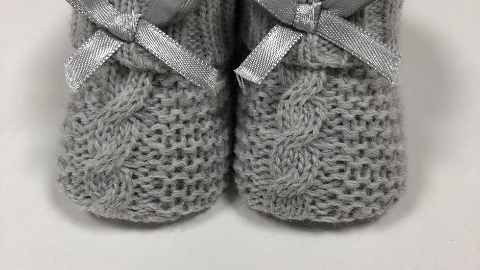 Pair of Knitted booties in grey