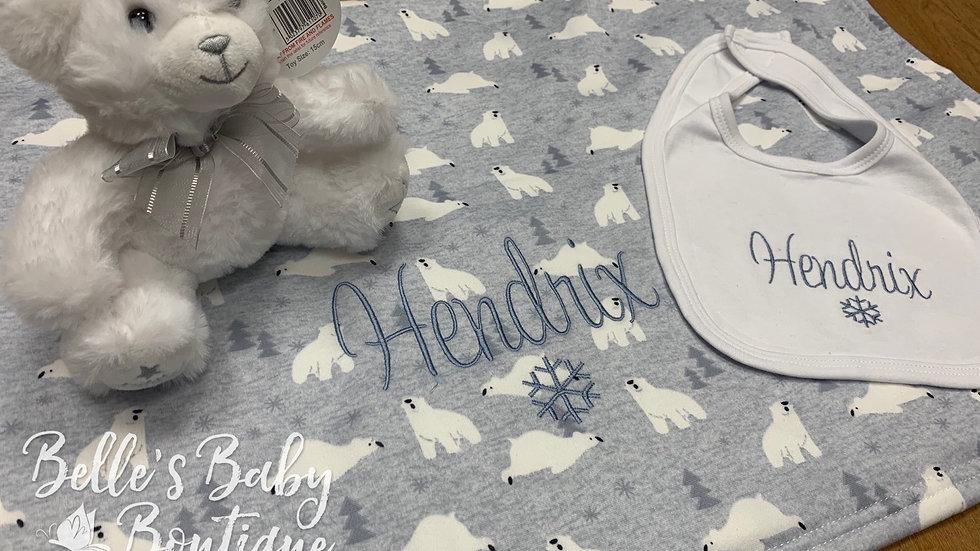 Personalised Polar Bear Blanket, bib and bear set