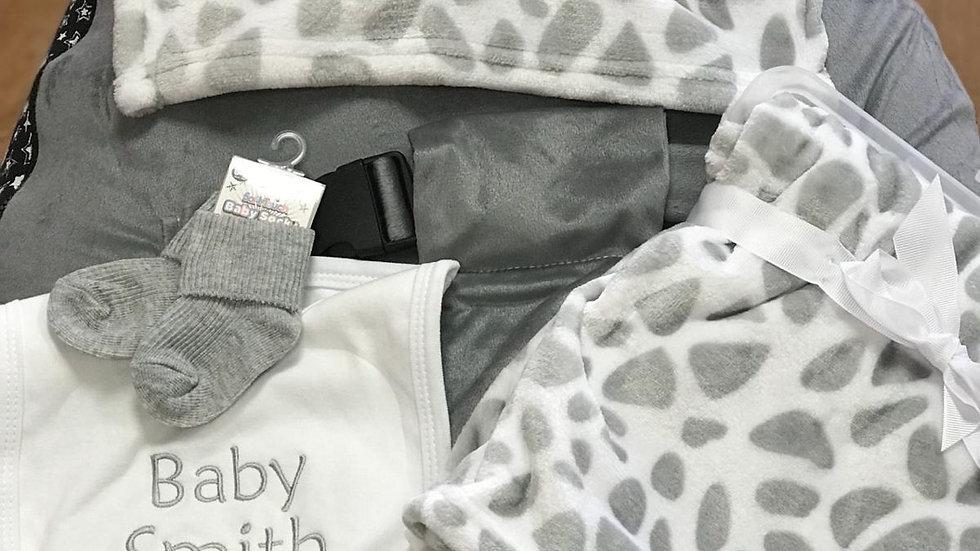 Grey Giraffe Baby Bean Bag set