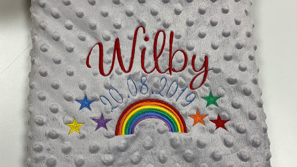 Rainbow Bobble blanket - Name and dob to centre