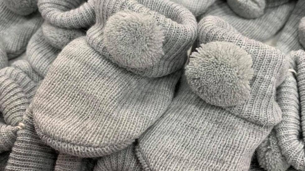 Pair of Pom Pom booties in grey