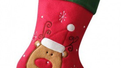 Personalised Reindeer Stocking red with green cuff