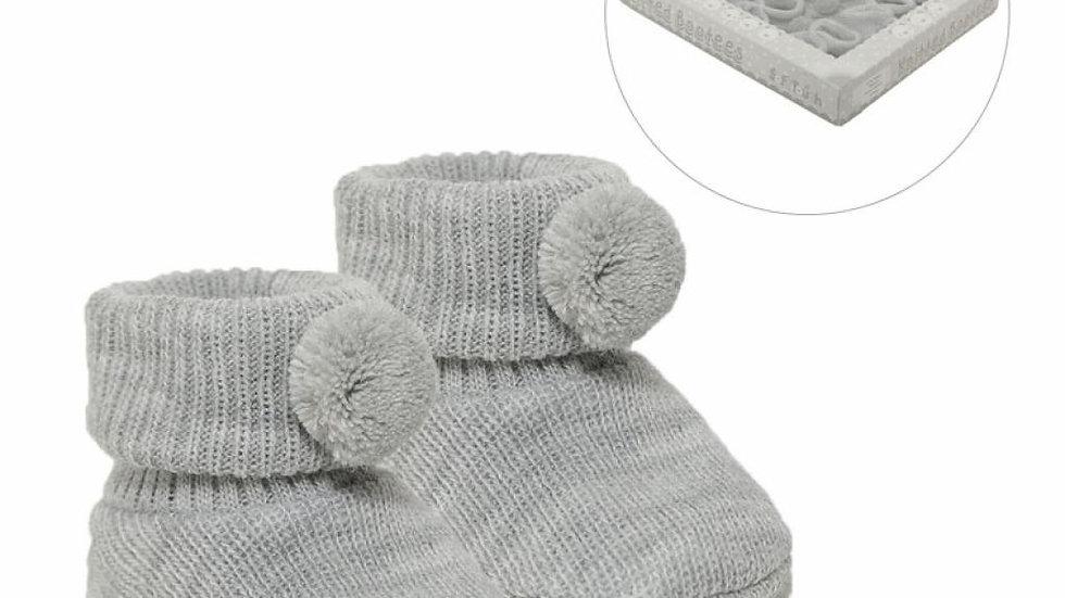 Pom Pom booties in grey