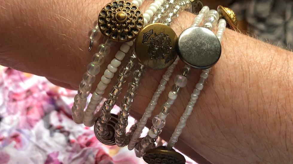 Brass Button Coil Bracelet