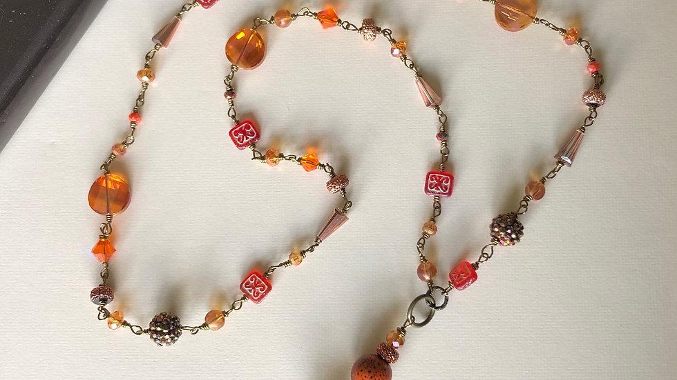 """Orange Bead Chain Necklace 38"""""""