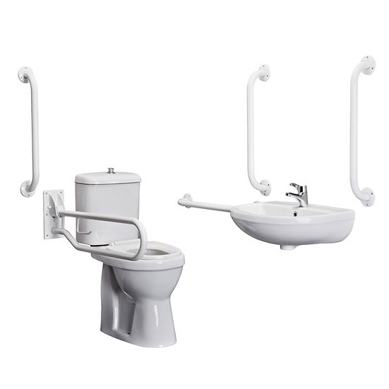 Premier Doc M Pack - Disabled Bathroom Toilet, Basin and Grab Rails