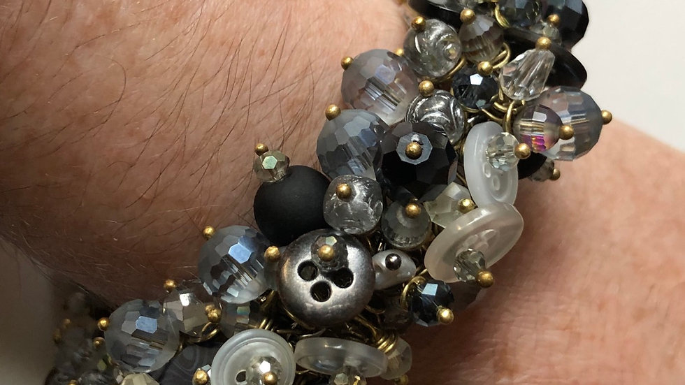 Button Fringe Bracelet in Monochrome