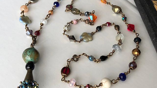 """""""Second Chances"""" Wire Wrapped Beaded Necklace"""