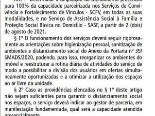 """PORTARIA N° 050/SMADS/2021 """"RETOMADA DE ATIVIDADES"""""""
