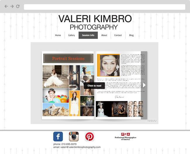 Captura de pantalla de la página web de la fotografa Valeri Kimbro