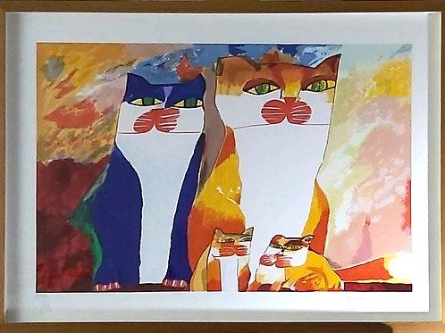 Obra de Aldemir Martins - Família de Gatos