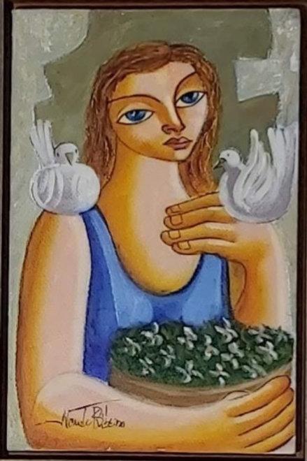 Obra de Nando Ribeiro - Menina com o Pássaro