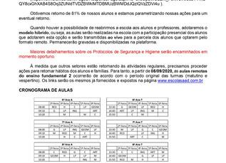 ENSINO FUNDAMENTAL 2 - AULAS PERÍODO MATUTINO