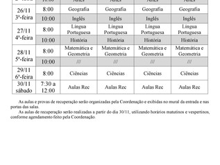 Horários - Exame Ensino Fundamental II