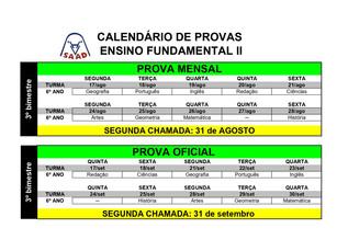 CALENDÁRIO DE PROVAS ENSINO FUNDAMENTAL 2 - 2020