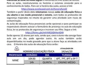 Informativo Educação Física - Fundamental 2