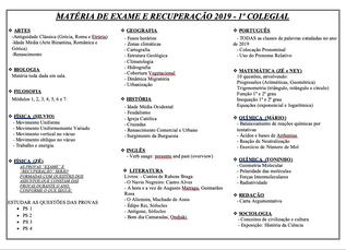 Matéria de Exame e Recuperação 2019 - Ensino Médio