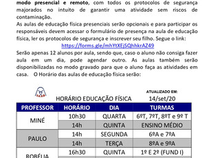 Informativo Educação Física - Fundamental 1 e Ensino Médio