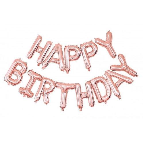 Guirlande de Ballons Happy Birthday Or rose