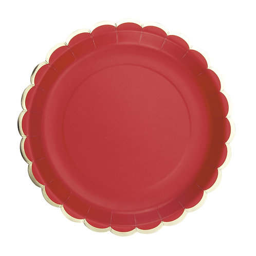 Assiettes à festons rouges