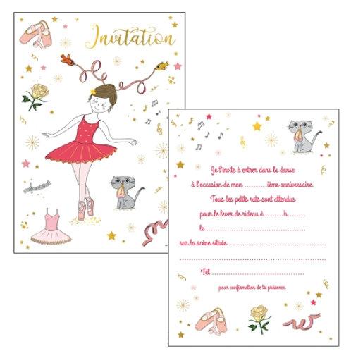 Cartes d'invitations Ballerines X8