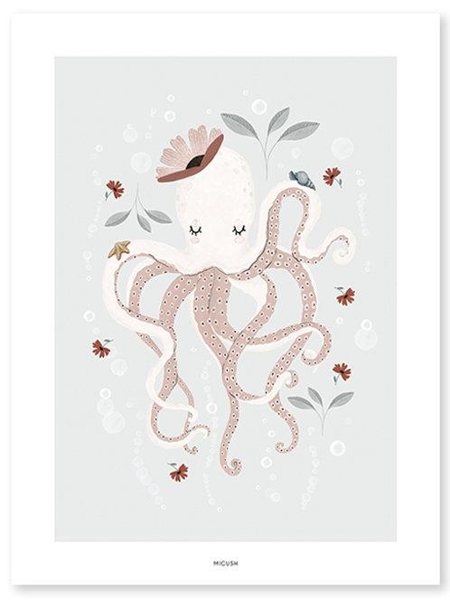 Affiche Octopus Rose