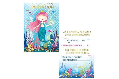 Cartes d'invitations Sirènes X8