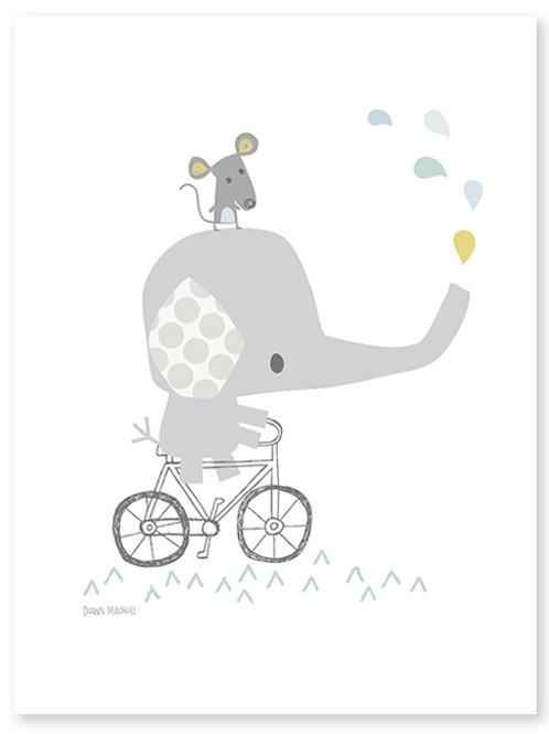 Affiche Éléphant sur un vélo