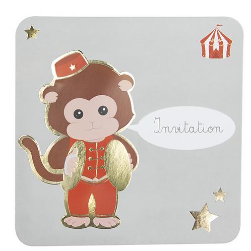 Cartes d'invitations Vintage Circus X8